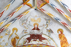 基督在评断,一幅哥特式壁画的那天来临 免版税库存图片