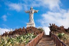 基督在马德拉岛海岛,葡萄牙上的国王雕象 库存照片
