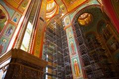 基督大教堂位于加里宁格勒的救主俄罗斯建设中 库存照片