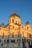 基督大教堂救主在莫斯科,俄国 在明亮的毛皮红色星期日之上日落冠上结构树冬天 免版税库存图片