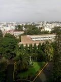 基督学院校园skyview班格洛美好的场面摄影 免版税库存图片