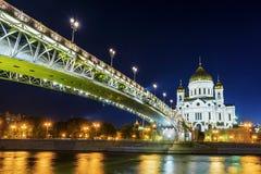 基督寺庙的夜视图救主和Patriarcha 库存图片