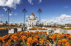 基督寺庙的看法救主在莫斯科晴朗的秋天天 免版税库存照片