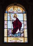 基督彩色玻璃国王在中央寺院大教堂,莱切,意大利里 免版税库存图片