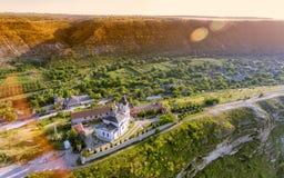 基督徒东正教在老奥尔海伊,摩尔多瓦 鸟瞰图 免版税图库摄影