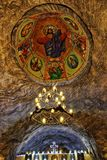 基督徒东正教天花板地下在HDR的盐矿 免版税库存照片