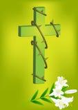 基督徒十字架和白百合3 库存图片