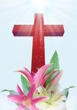 基督徒十字架和百合花 图库摄影