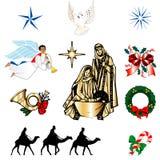 基督徒圣诞节图标 免版税库存照片