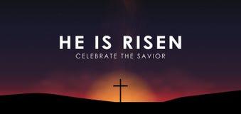 基督徒复活节场面,在剧烈的日出场面的救主十字架,与文本他上升,例证 向量例证