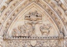 基督徒安心(14世纪)在教会的门面 免版税图库摄影