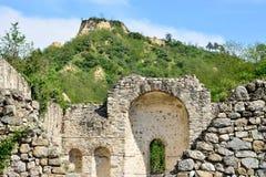 基督徒宗教寺庙的废墟在梅利尼克,保加利亚 免版税库存照片
