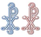 基督徒池氏希腊字母的第17字标志(为基督) 罗马帝国后期的军旗 Christogram 图库摄影