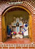 基督徒海岛janitzio墨西哥寺庙街道 免版税图库摄影