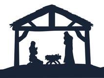 基督徒诞生圣诞节场面剪影 向量例证
