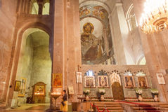 基督徒Svetitskhoveli大教堂的内部和老壁画 科教文组织世界遗产站点 免版税库存图片
