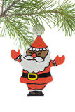 基督手画圣诞老人木头 图库摄影