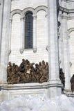 基督救世主大教堂在莫斯科 颜色冬天照片 图库摄影