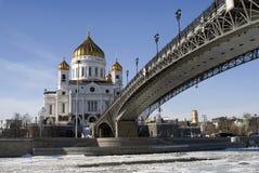 基督救世主大教堂在莫斯科 颜色冬天照片 免版税库存图片