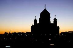 基督救世主在莫斯科 剪影 彩色照片 库存图片