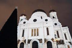 基督救世主大教堂在莫斯科在晚上 圣诞节我的投资组合结构树向量版本 免版税库存图片