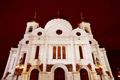 基督救世主大教堂在莫斯科在晚上 库存图片