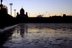 基督救世主大教堂在莫斯科 剪影 免版税库存照片