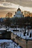 基督救世主大教堂在莫斯科 晚上冬天照片 库存照片