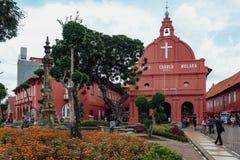基督教会是18世纪英国国教的教堂在市马六甲,马来西亚 免版税库存照片
