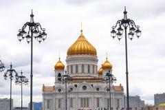 基督教会莫斯科俄国救主 葡萄酒街灯 图库摄影
