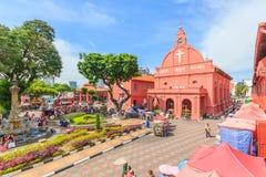 基督教会&荷兰正方形在马六甲,马来西亚 免版税图库摄影