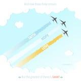 基督教圣经诗歌上帝耶稣标志飞机五颜六色的爱希望信念传染媒介例证 免版税库存照片