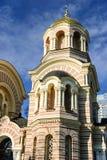 基督正统大教堂,里加,拉脱维亚诞生的塔  免版税图库摄影