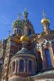 基督的复活的大教堂在圣彼得堡,俄罗斯 血液教会救主 免版税库存照片