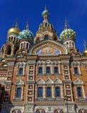 基督的复活的大教堂在圣彼得堡,俄罗斯 血液教会救主 图库摄影