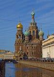 基督的复活的大教堂在圣彼得堡,俄罗斯 血液教会救主 库存照片
