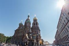 基督的复活的大教堂在圣彼得堡,俄罗斯 血液教会救主 免版税库存图片