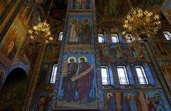 基督的复活的大教堂的内部在圣彼得堡,俄罗斯 血液教会救主 库存图片