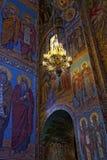 基督的复活的大教堂的内部在圣彼得堡,俄罗斯 血液教会救主 免版税库存照片