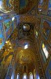 基督的复活的大教堂的内部在圣彼得堡,俄罗斯 血液教会救主 免版税图库摄影