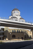 基督的寺庙圣洁面孔的看法有街道的救主凯旋式解决爱德乐,索契 库存图片