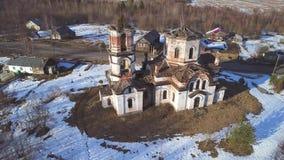 基督空中录影圣诞教堂的看法  卡累利阿,俄罗斯 股票录像