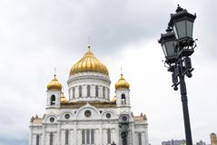 基督金黄圆屋顶救主教会在莫斯科,俄罗斯 库存照片