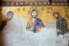 基督deesis耶稣马赛克 库存照片