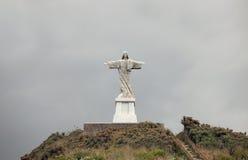 基督garajau耶稣・马德拉岛雕象 免版税图库摄影