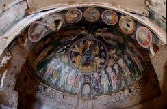 基督Pantocrator壁画在洞烈士` s教会,卡帕多细亚里 免版税库存图片