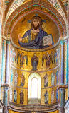 基督Pantocrator马赛克,中央寺院, Cefalu,西西里岛,意大利 图库摄影