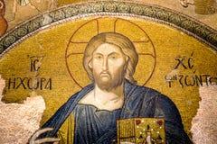 基督pantocrator 马赛克在Cora教会 库存照片