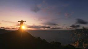 基督Redemee汇率日落,里约热内卢,巴西, 3D回报 免版税库存图片