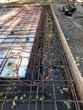 基础以辐射热准备好混凝土 免版税库存照片